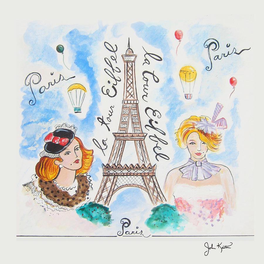 Paris Painting - Paris Girls by John Keaton