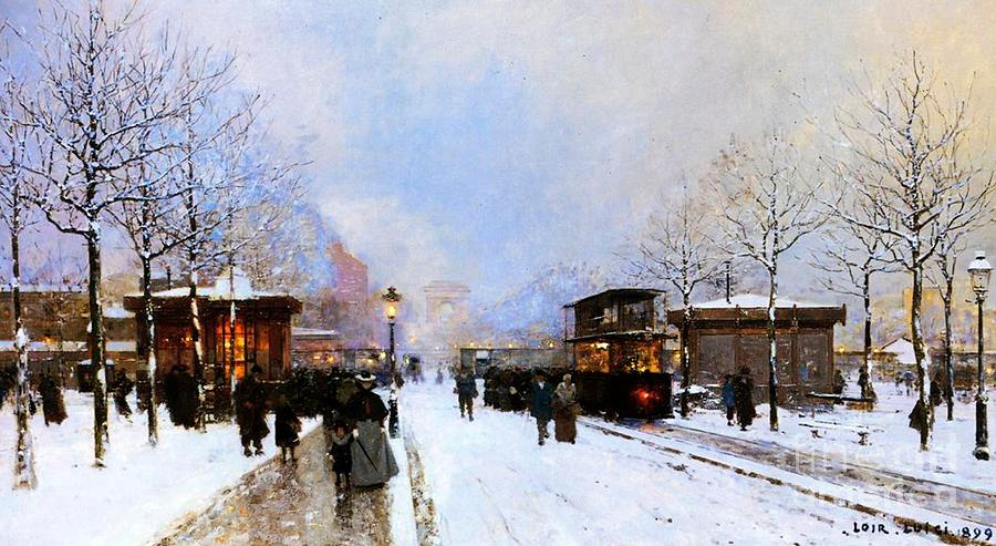 A View Facing South East From Place De La Porte Maillot To The Arc De Triomphe; Painting - Paris In Winter by Luigi Loir