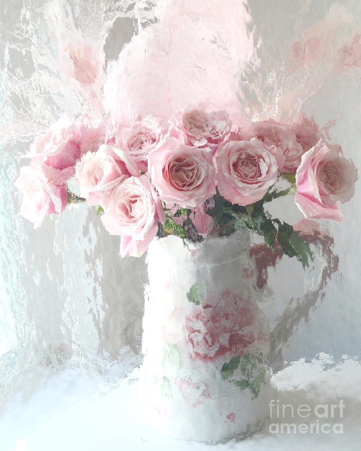 Paris Pink Impressionistic French Roses In Pink White Vase Shabby Chic Pink Roses Fine Art