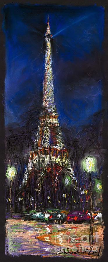 Pastel Painting - Paris Tour Eiffel by Yuriy  Shevchuk