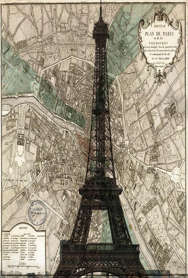 Paris Vintage Map And Eiffel Tower Photograph