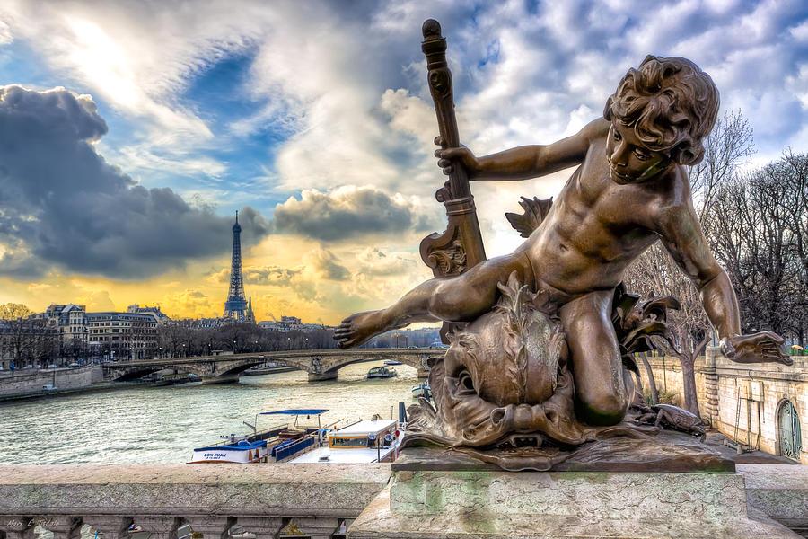 Paris Photograph - Parisian Cherub On The Pont Alexandre IIi by Mark E Tisdale
