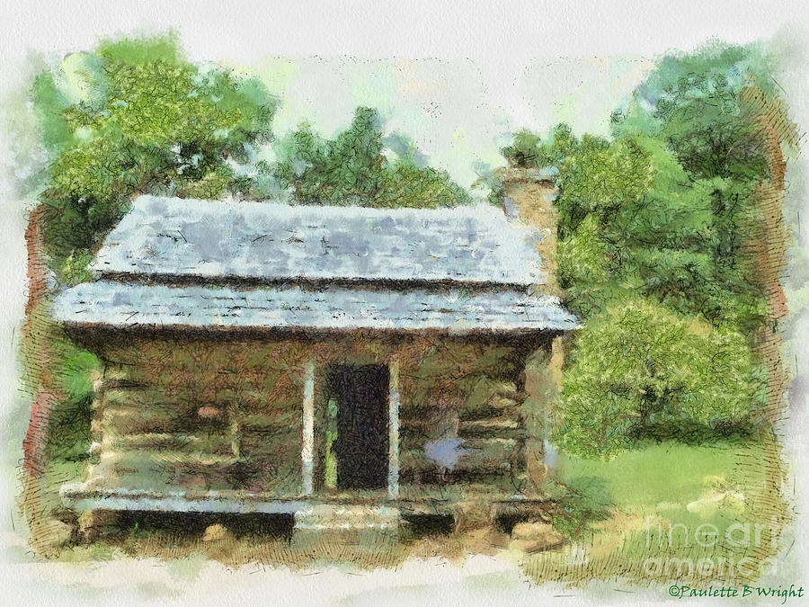 Blue Painting - Parkway Cabin by Paulette B Wright