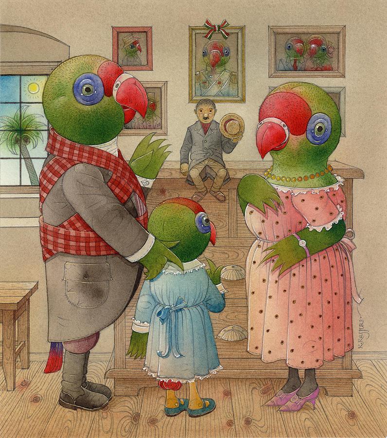 Birds Parrots Green Colourful Family House Room Picture Painting - Parrots 03 by Kestutis Kasparavicius