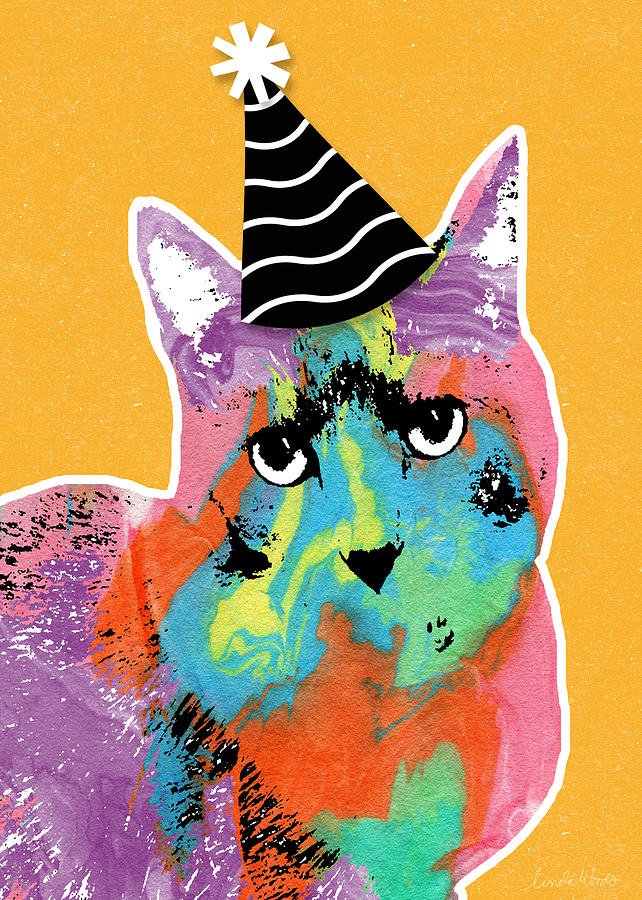 Party Cat- Art By Linda Woods Mixed Media