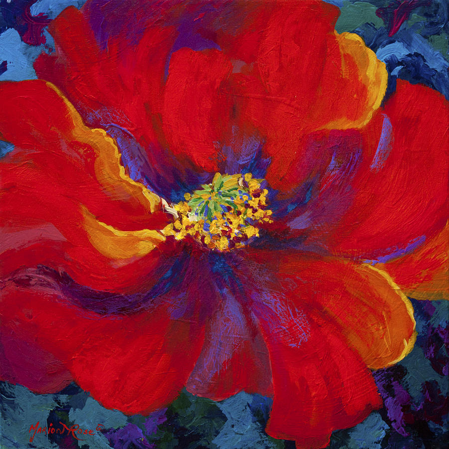 Passion red poppy painting by marion rose for Painting large flowers in acrylic