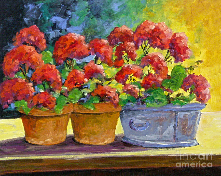 Still Life; Geraniums; Flowers; Terra Cotta; Red; Blue; Yellow; Green; Pranke;  Painting - Passion In Red by Richard T Pranke