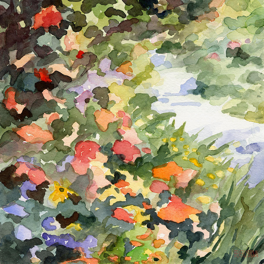 Path Monets Garden Watercolor Paintings Of France Painting