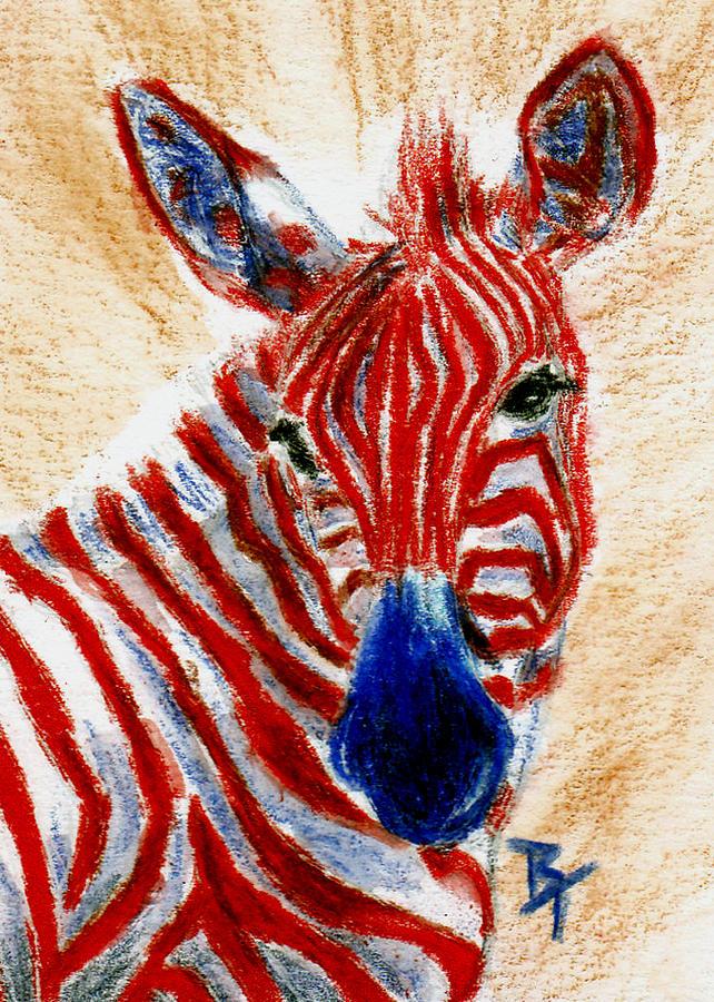 Zebra Painting - Patriotic Zebra Aceo by Brenda Thour