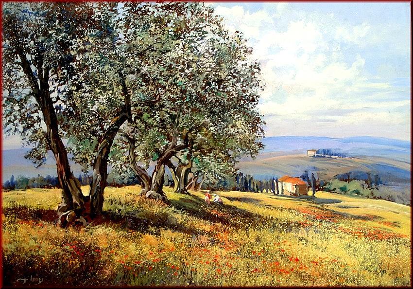 Quadri Painting - Peace In Tuscany by Landi