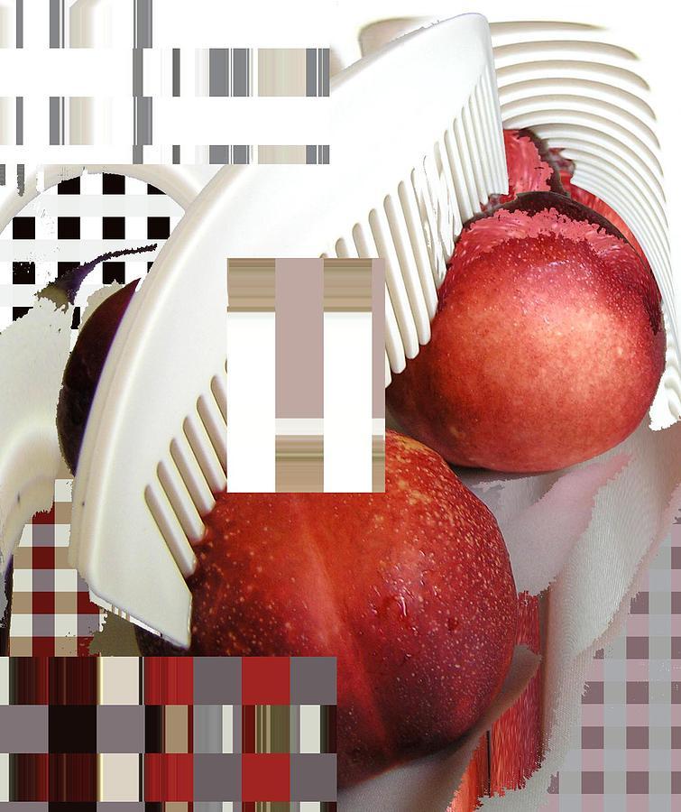 Peaches Photograph - Peach And Haircomb by Evguenia Men