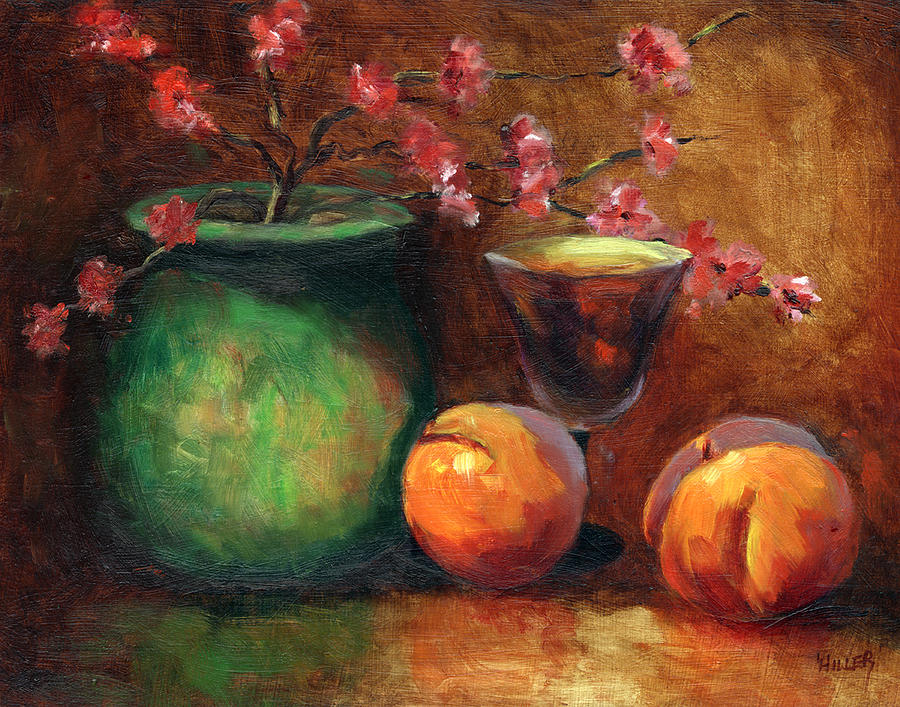 Peaches Painting - Peach Blossoms by Linda Hiller