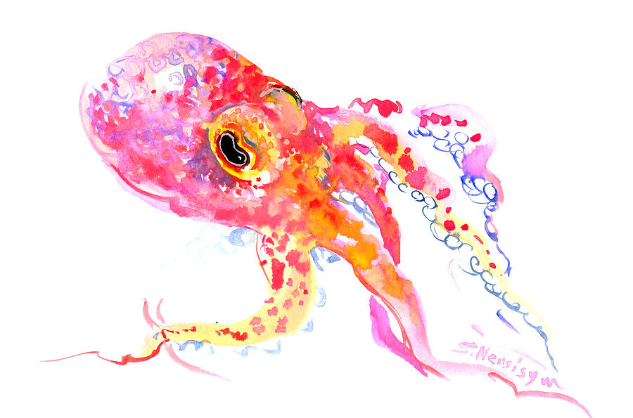 Peach color octopus painting by suren nersisyan for Colorful octopus painting