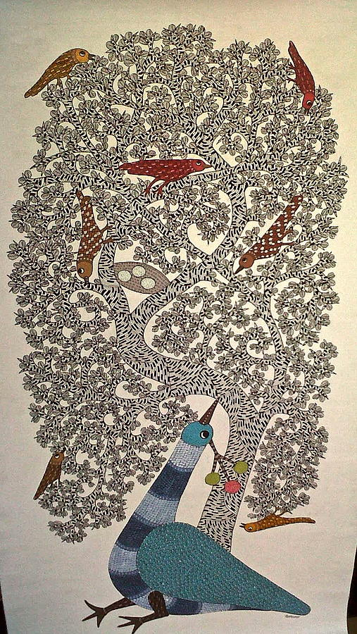 Gond Art Painting - Peacock by Dilip Shyam