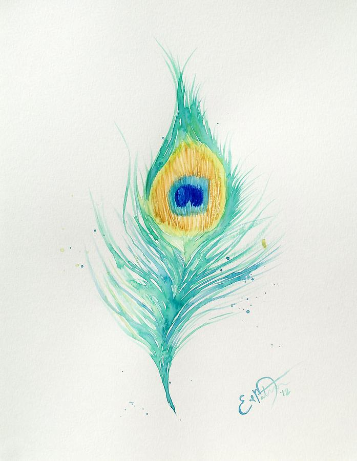 Peacock Painting - Peacock Feather 2 by Oddball Art Co by Lizzy Love