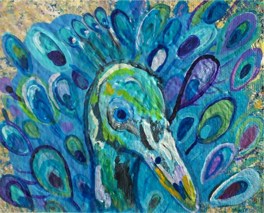 Purple peacock paintings