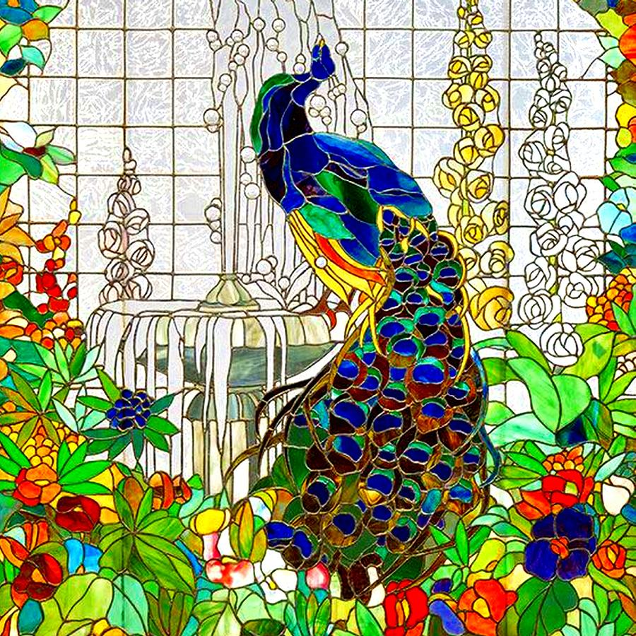 Peacock Stained Glass Drawing By Marianne Dow