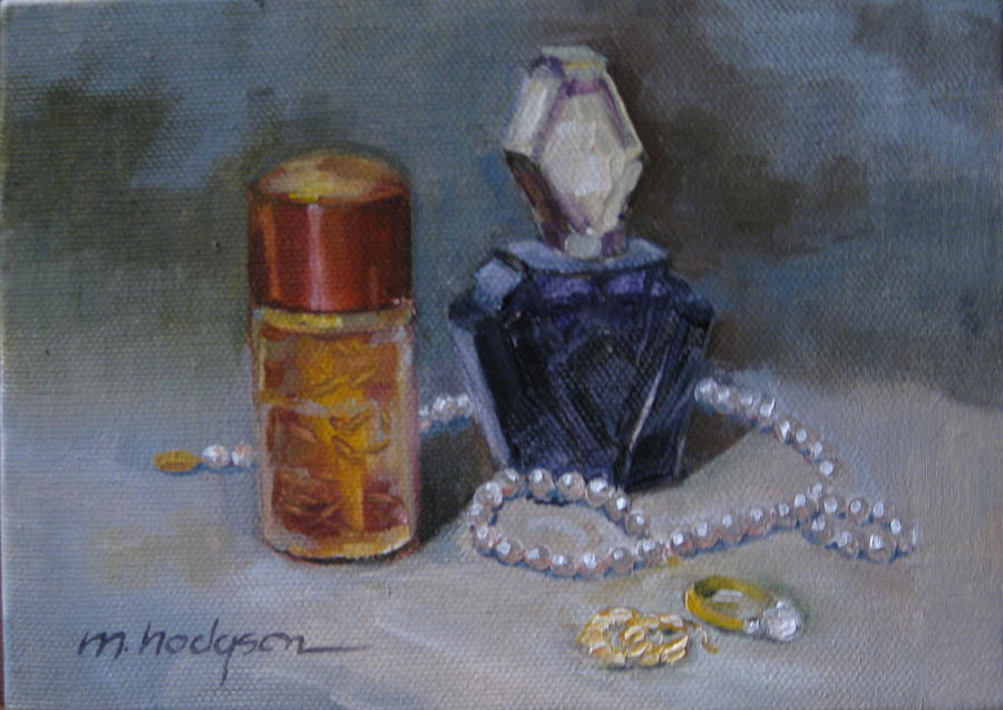 Pearls Painting - Pearls And Perfumes by Margaret Hodgson