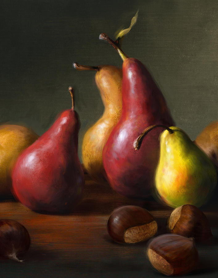 Pears Painting - Pears With Chestnuts by Robert Papp