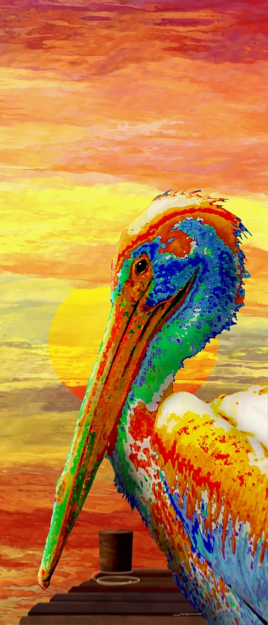 Sunset Digital Art - Pelicans Wharf Tequila Sunset by Wally Boggus