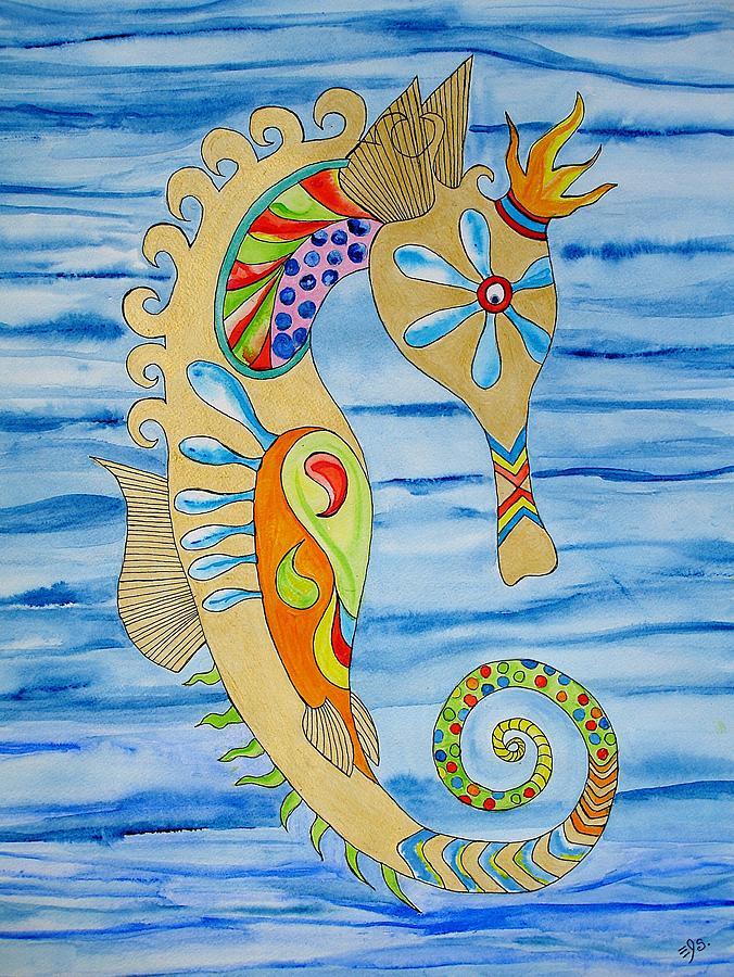 Seahorse Painting - Penelope The Seahorse by Erika Swartzkopf