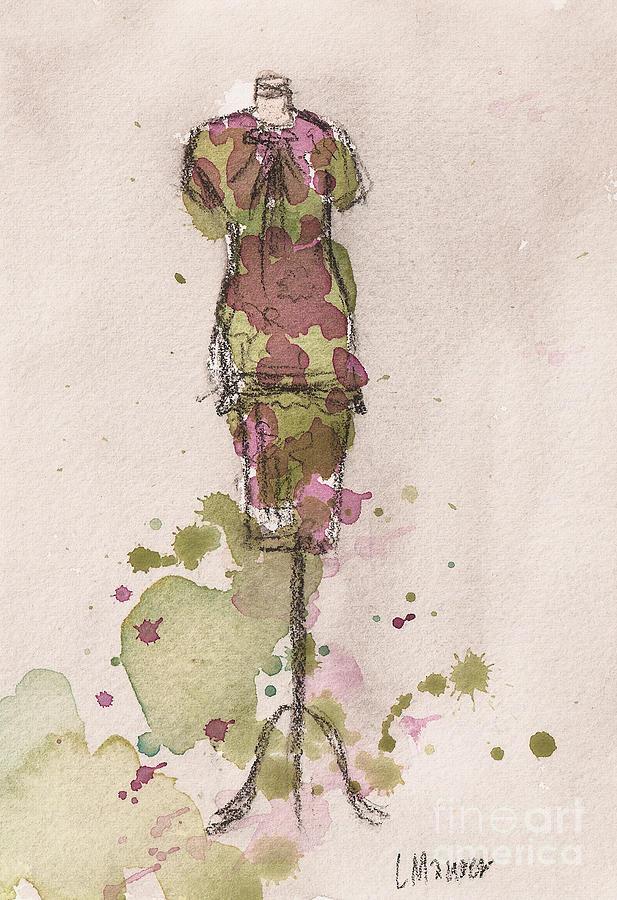 Mauve Painting - Peplum Dress by Lauren Maurer