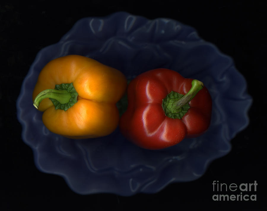 Peppers And Blue Bowl Photograph