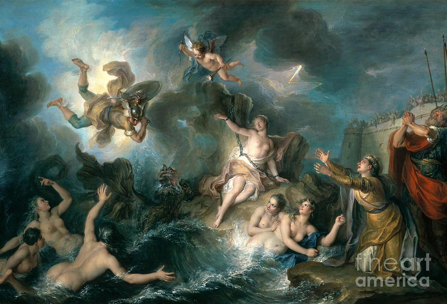 Perseus Rescuing Andromeda Painting - Perseus Rescuing Andromeda by Charles Antoine Coypel