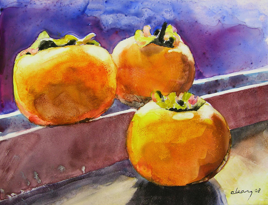 Melody Cleary Painting - Persimmon by Melody Cleary