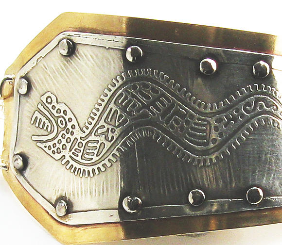Silver Etched Bracelet Jewelry - Peruvian Serpent Etched Silver Bracelet by Virginia Vivier