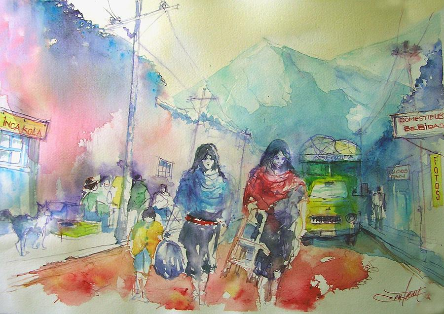 Peruvian Village Painting by Christian Couteau