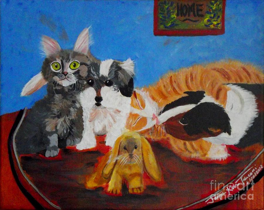 Kitten Canvas Print Painting - Pets Home by Jayne Kerr