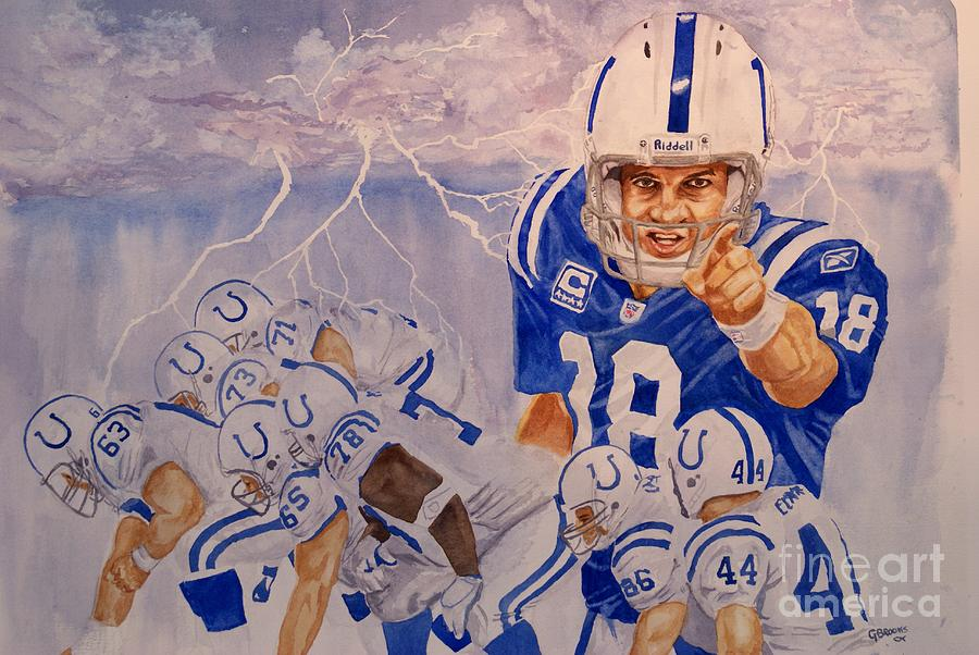 Peyton Manning Paintings Painting - Peyton Manning - Perfect Storm by George  Brooks
