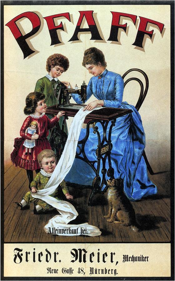Pfaff - Sewing Machine - Vintage Advertising Poster Mixed Media