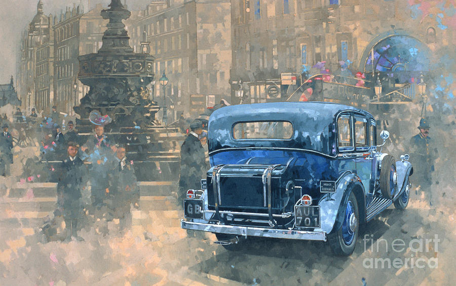 Rolls Royce; Car; Vehicle; Vintage; Automobile; Fountain; West End; London; Piccadilly Circus; London; Nostalgic; England; Classic Cars; Vintage Car; Old Timer; Classic Cars Painting - Phantom In Piccadilly  by Peter Miller