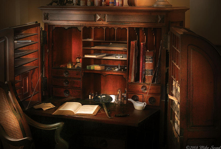 Savad Photograph - Pharmacist - The Pharmacists Desk by Mike Savad