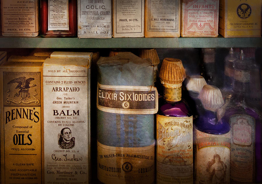 Hdr Photograph - Pharmacy - Oils And Balms by Mike Savad