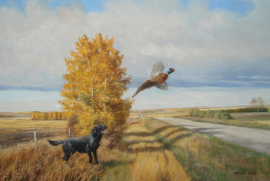 Prairie Landscape -pheasant Painting - Pheasant Flush by Norman Kelly
