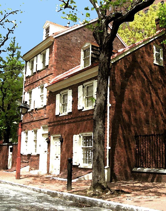 Philadelphia Mixed Media - Philly Row House 2 by Paul Barlo