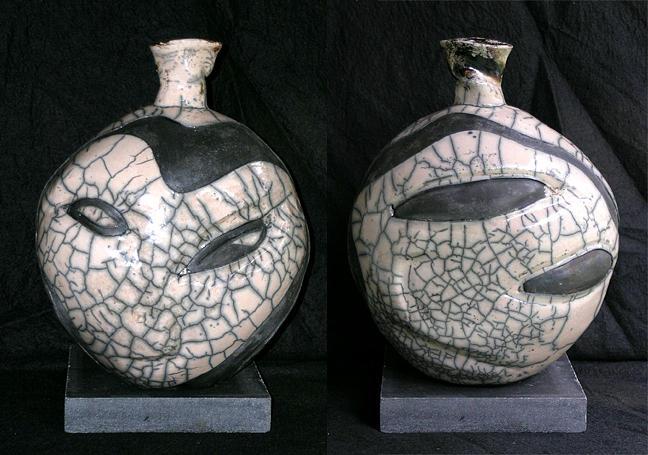 Raku Sculpture - Picasso Alien by John Gruber
