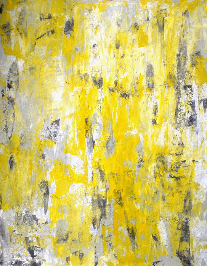 Picking Around Grey And Yellow Abstract Art Painting