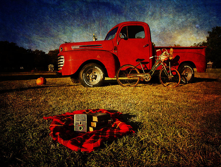 Red Ford Trucks Photograph - Picnic Time 2 by Toni Hopper