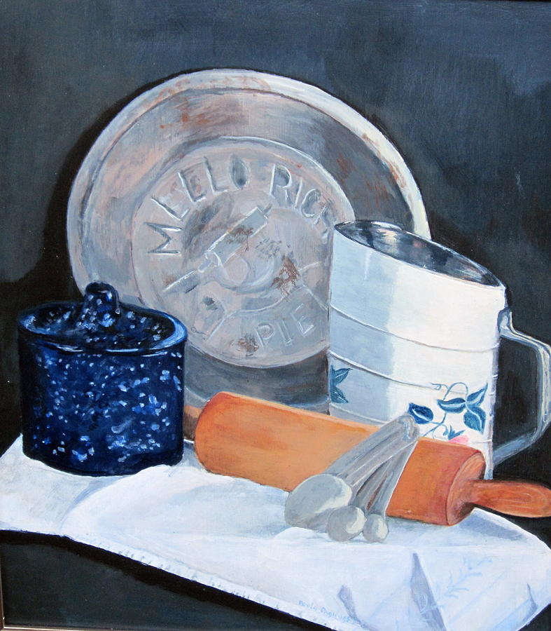 Old Fashion Pie Baking With A Rolling Pin Painting - Pie Baking by Paula Pagliughi