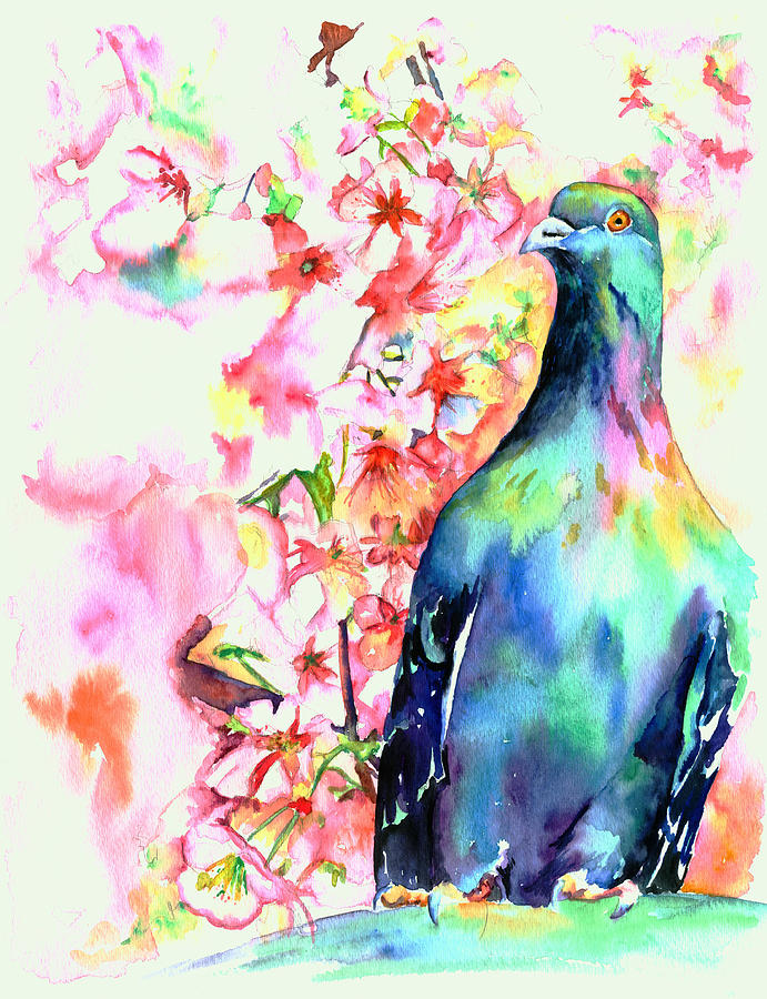 Pigeon Painting - Pigeon Eye by Christy  Freeman
