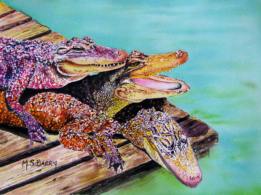Gators Painting - Pile Up by Maria Barry