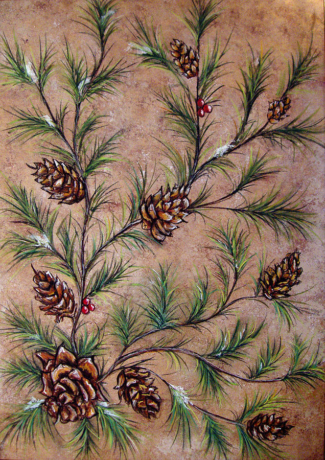 Pine Cones And Spruce Branches Painting By Nancy Mueller