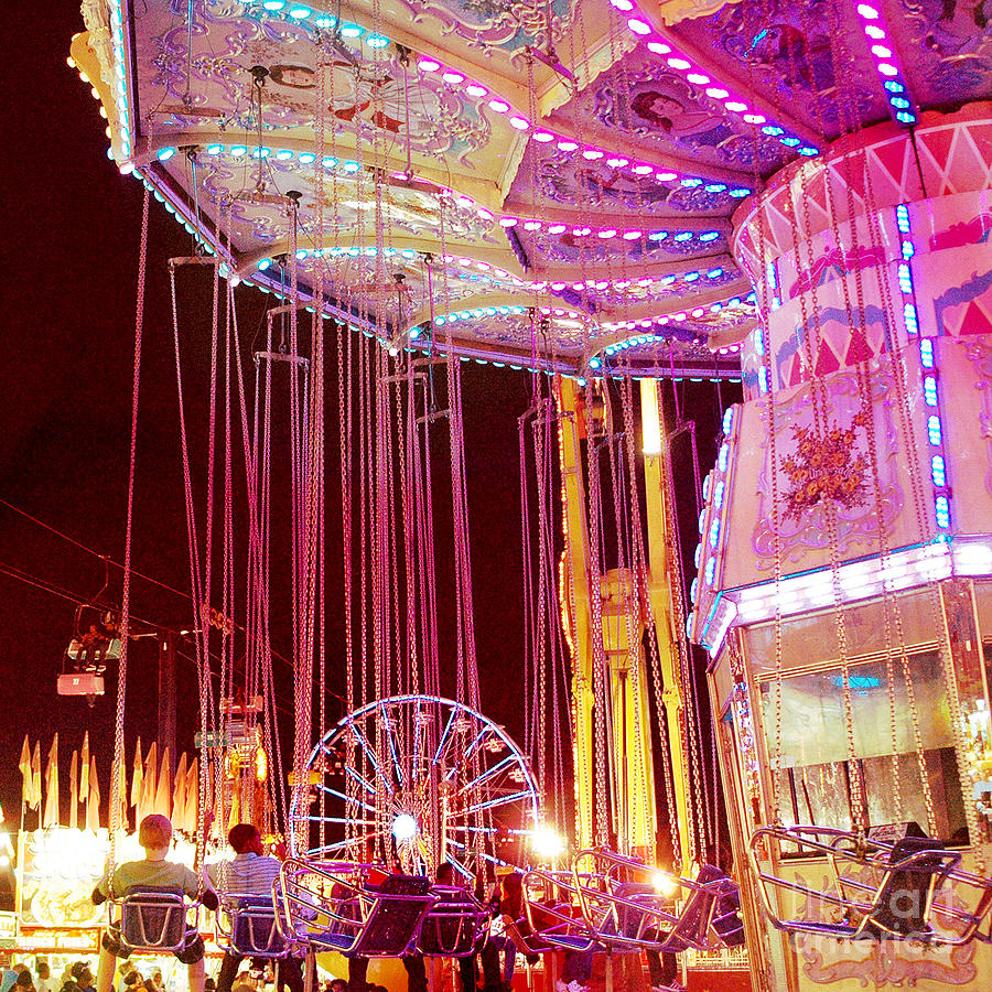Hot Pink Ferris Wheel Photos Photograph - Pink Carnival Festival Ferris Wheel Night Ride by Kathy Fornal
