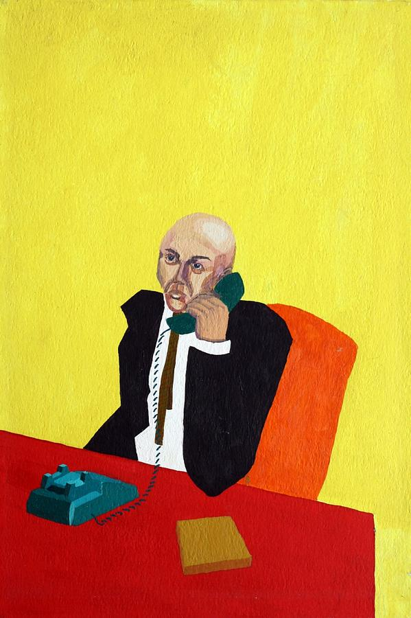 Office Painting - Pink Collar Man by Sheri Parris