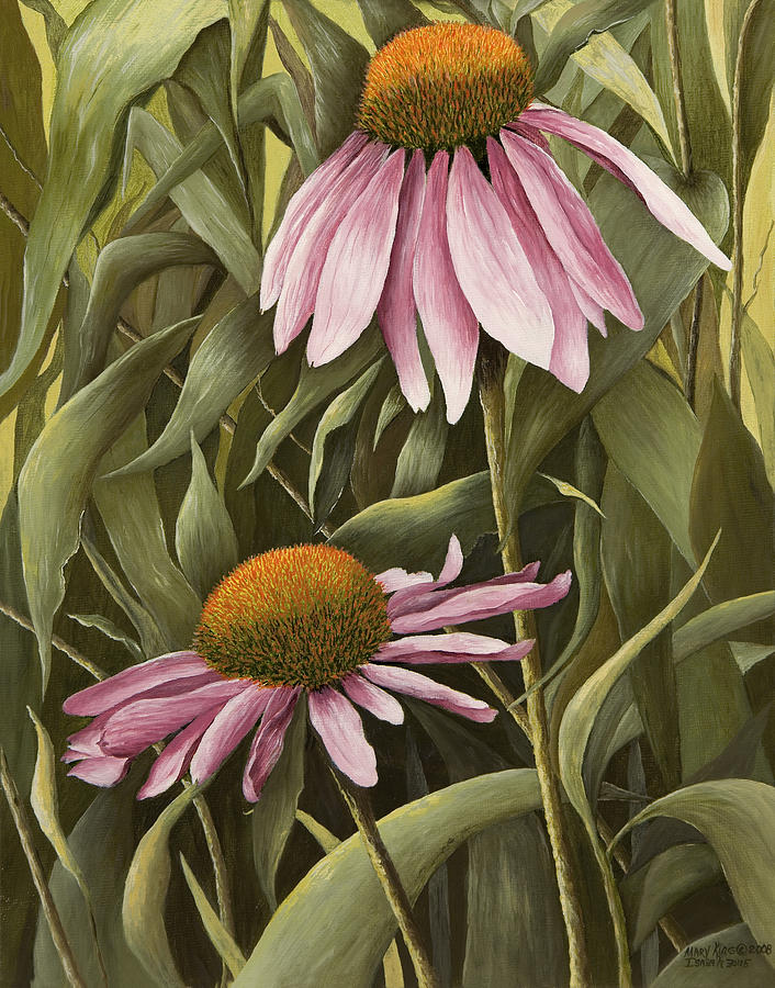 Flower Paintings Painting - Pink Echinaceas by Mary Ann King