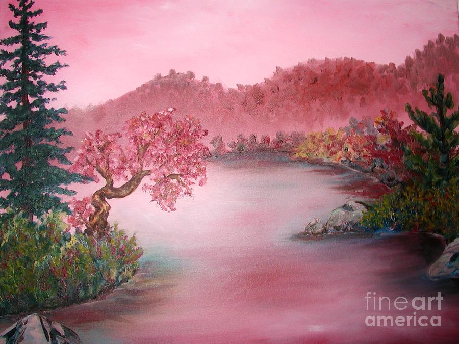 Lake Painting - Pink Lake by Emily Michaud
